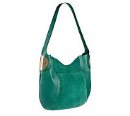 As Is B. Makowsky Giamma Leather & Suede Hobo Bag w/ Hardware - A252644