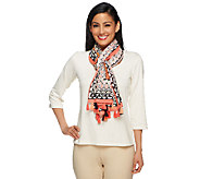 Susan Graver Border Printed Cotton Scarf with Tassels - A253044