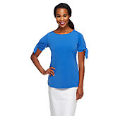 Susan Graver Liquid Knit Bateau Neck 3/4 Sleeve Top w/ Embellishments - A254244
