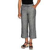 Liz Claiborne New York Regular Cropped Linen Pants - A254844