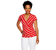 Susan Graver Liquid Knit Printed Stripe Surplice Wrap Cap Sleeve Top - A255344