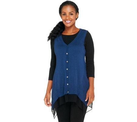 logo by lori goldstein cotton cashmere sweater vest w chiffon trim qvc com