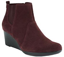 Clarks Suede or Leather Wedge Boots - Crystal Quartz
