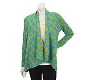 As Is Susan Graver Jacquard Knit Long Sleeve Drape Cardigan - A258344