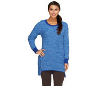 Denim & Co. Marled Sweater with Zipper Detail