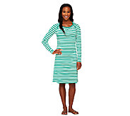 Liz Claiborne New York Bateau Neck Striped Dress - A261244