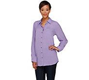 Joan Rivers Woven Gauze Boyfriend Shirt - A261844
