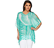 Susan Graver Printed Crinkle Sheer Chiffon Cold Shoulder Scarf Top - A265844