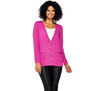 Joan Rivers Wardrobe Builders Button Front Boyfriend Cardigan - A267544