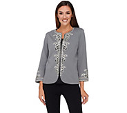 Bob Mackies 3/4 Sleeve Jacket with Embroidered Trim Detail - A269544
