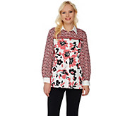 Bob Mackies Button Front Floral Printed Top with Point Collar - A276144