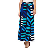 Susan Graver Printed Liquid Knit Six Gore Maxi Skirt with Slit - A276444