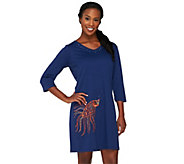 As Is Quacker Factory 3/4 Sleeve Summer Beach Cover-up - A278144