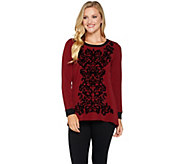 Bob Mackies Velvet Flocked Knit Top - A279244