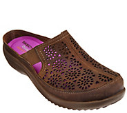 As Is Skechers Relaxed Fit Leather Laser-cut Mules - A280344