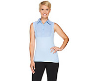 Kathleen Kirkwood Dictrac-Ease Chambray Point Collar Camisole - A281344