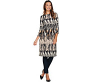 Attitudes by Renee Petite Feather Printed Duster with Side Slits - A282044