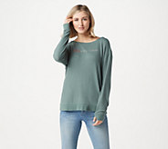 Peace Love World Scoop Neck Comfy Knit Long Sleeve Top - A285644