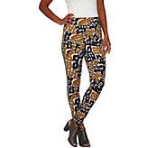 As Is LOGO by Lori Goldstein Printed Knit Ankle Pants w/ Tuxedo Stripe - A286544