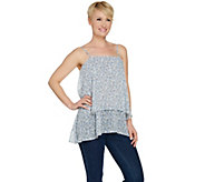 LOGO by Lori Goldstein Printed Chiffon Tiered Camisole - A288044