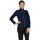 Bob Mackies Ponte Knit Jacket with Zipper Detail - A288444