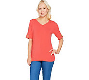 Denim & Co. V-Neck Split Short Sleeve Top with Grommet Detail - A291644