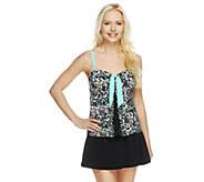 As Is Fit 4 U Tummy Skinz Tie Pleat Top with Skirtini - A293244