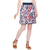 As Is Denim & Co. Active French Terry Ikat Printed Pull-On Skort - A298944