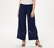 GRAVER Susan Graver Linen Ankle Pants w/ Crochet Details - A302644