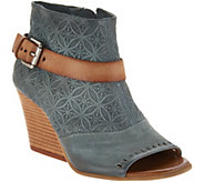 Miz Mooz Leather Peep Toe Wedge Booties - Kahlo - A304344