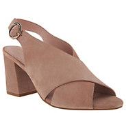 Taryn Rose Suede Block Heeled Sandals - Lenora - A304444