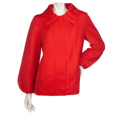 Dennis Basso Water Resistant Zip Front Jacket with Tuck Details