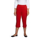 Bob Mackies Ponte Knit Elastic Waist Crop Pants w/Button Accent - A233345
