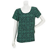 Isaac Mizrahi Live! Scroll Print Short Sleeve Top - A235345