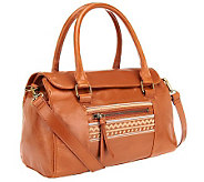 Muxo by Camila Alves Glazed Leather Satchel w/ Stitch Detail - A239245
