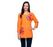 Quacker Factory Hibiscus Embroidered 3/4 Sleeve T-shirt - A253345