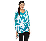 Susan Graver Printed Liquid Knit 3/4 Sleeve Tunic with Chiffon Scarf - A253545