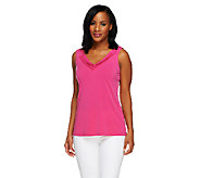 Susan Graver Liquid Knit Tank Top with Ruched V-Neckline - A254345