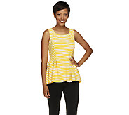 George Simonton Striped Pique Knit Top with Draped Peplum & Hi-Low Hem - A254445