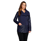 Lisa Rinna Collection Asymmetric Zip Front Draped Jacket - A257745