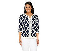 Liz Claiborne New York Window Pane Sweater Jacket w/ Pockets - A261245