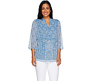 Liz Claiborne New York 3/4 Sleeve Printed Blouse - A263445