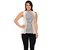 G.I.L.I. Stretch Tweed Sleeveless Color-Block Top - A263545