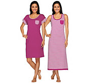 Carole Hochman Garden Side Stripe Tank Maxi & Sleep Shirt Set - A264645