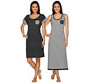 Carole Hochman Garden Side Stripe Tank Maxi & Sleep Shirt Set - A264645