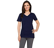 Denim & Co. Active V-neck Short Sleeve Top w/ Seam - A264845