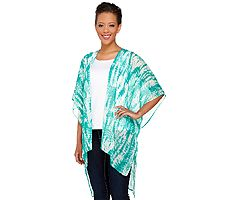 Susan Graver Printed Crinkle Sheer Chiffon Kimono with Hi-Low Hem
