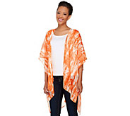 Susan Graver Printed Crinkle Sheer Chiffon Kimono with Hi-Low Hem - A265845