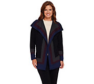 Isaac Mizrahi Live! Cascade Striped Sweater Coat - A268445