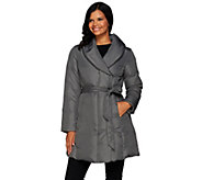 H by Halston Water-Repellant Shawl Collar Puffer Coat with Self Belt - A270245